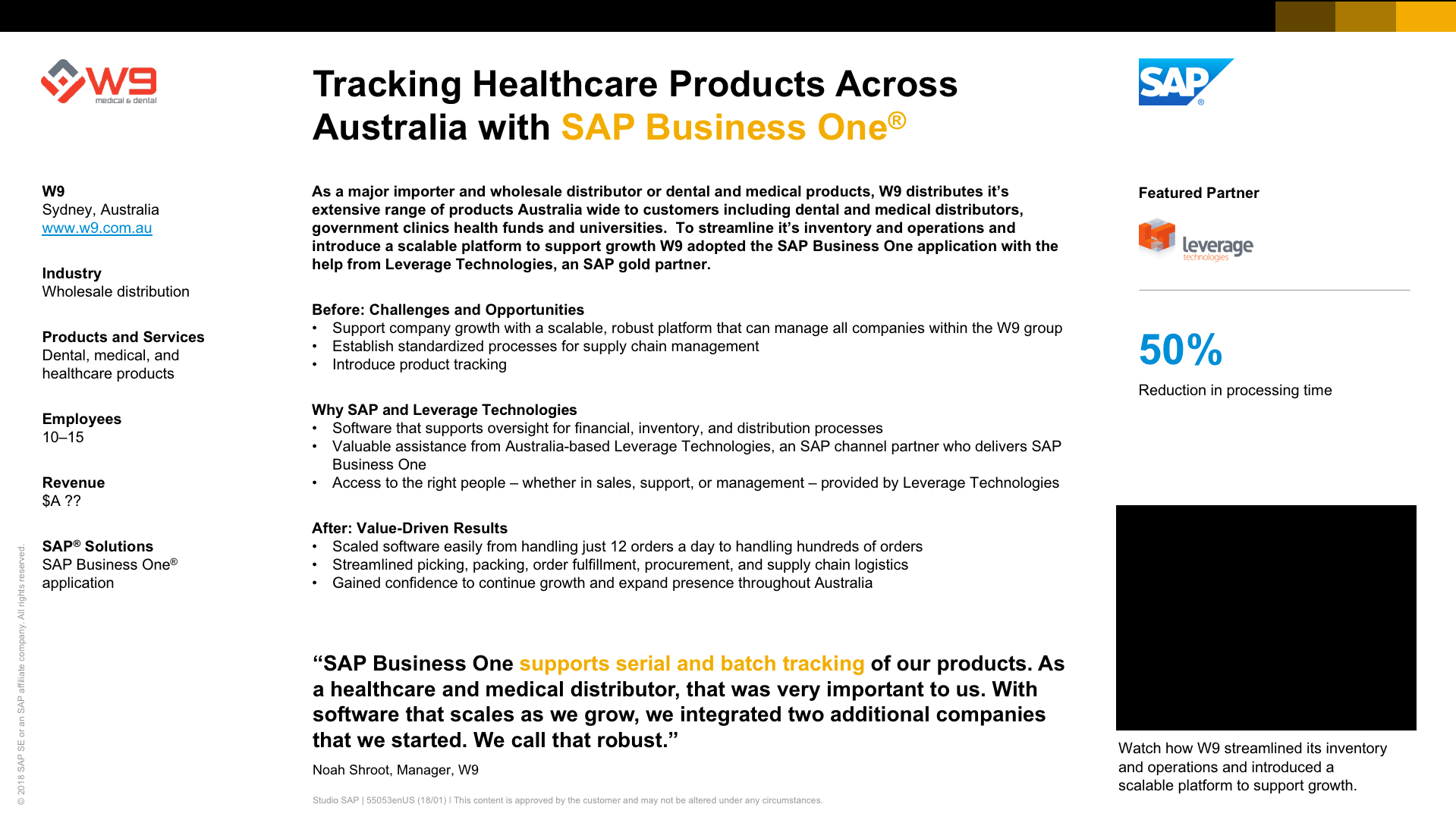 Tracking healthcare products across Australia with SAP Business One - ERP Case Study
