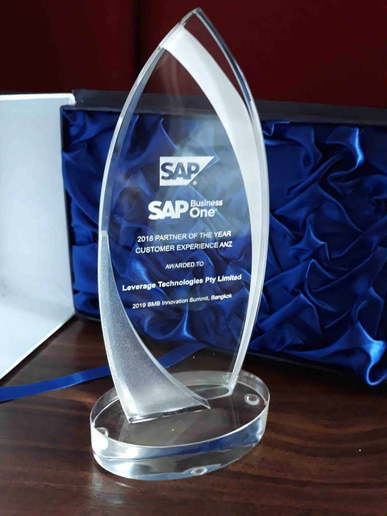 The SAP CX Award we won at the 2019 SAP Innovation summit in Bangkok