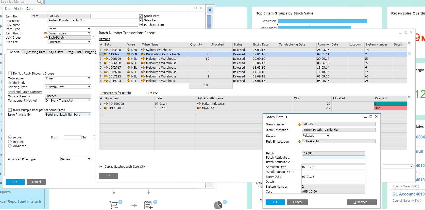 Batch traceability in SAP Business ONe - interface view