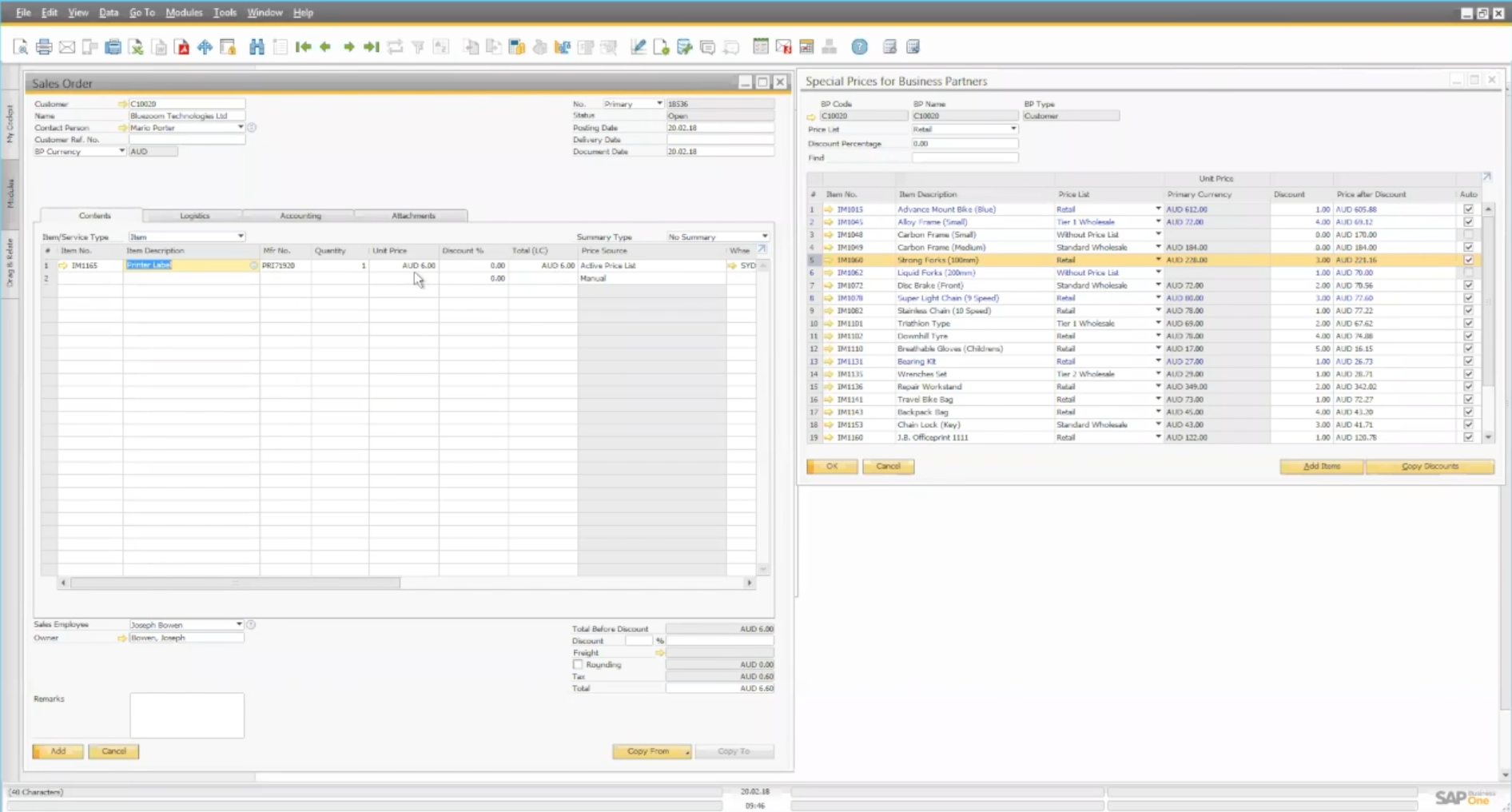Item pricing and blanket agreements in SAP Business One