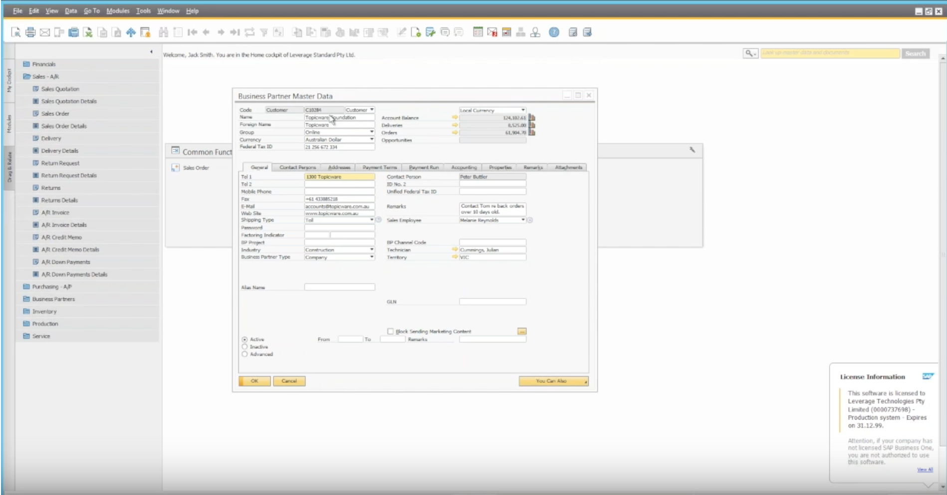 Managing sales orders in SAP Business One